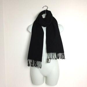 Dolce & Gabbana Unisex BlackWool Cashmere Scarf With Fringe NWT